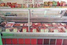 Витрина с охлажденным мясом магазин Дева Святой Влас
