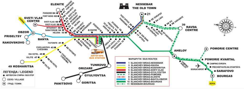 Транспортная схема автобусов Святой Влас